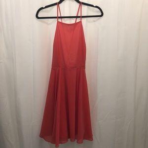 Coral Open-back Flowy Dress